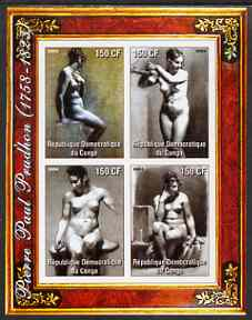Congo 2004 Nude Paintings by Pierre Paul Prodhon imperf sheetlet containing 4 values, unmounted mint