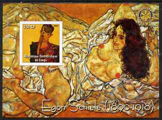Congo 2004 Paintings by Egon Schiele imperf souvenir sheet with Rotary Logo, unmounted mint