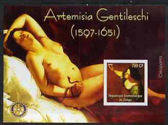 Congo 2004 Paintings by Artemisia Gentileschi imperf souvenir sheet with Rotary Logo, unmounted mint