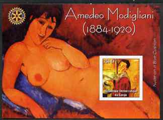 Congo 2004 Paintings by Amedeo Modigliani imperf souvenir sheet with Rotary Logo, unmounted mint