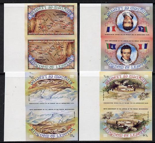 Lesotho 1983 French Missionaries Anniversary set of 4 in unmounted mint IMPERF tete-beche pairs, as SG 550a-53a