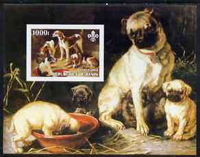 Benin 2003 Paintings of Dogs imperf m/sheet with Scouts Logo unmounted mint