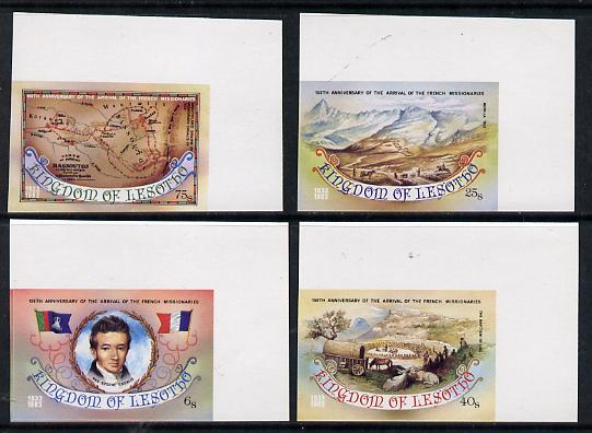 Lesotho 1983 French Missionaries Anniversary set of 4 in imperf marginal singles as SG 550-53