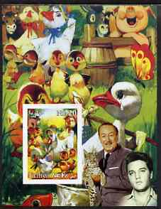 Eritrea 2003 'Ugly Duck' imperf m/sheet with portraits of Elvis & Walt Disney, unmounted mint