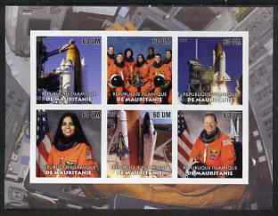 Mauritania 2003 Tribute to Space Shuttle 'Columbia' #1 imperf sheetlet containing 6 values unmounted mint