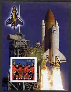 Mauritania 2003 Tribute to Space Shuttle 'Columbia' #2 imperf m/sheet (Team on stamp, Shuttle in background) unmounted mint