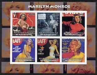 Mauritania 2003 Marilyn Monroe #2 imperf sheetlet containing 6 values unmounted mint
