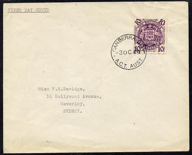Australia 1949 Arms 10s on plain typed addressed cover with clear first day cancel (SG224b) stamp has been applied over the cancel and is almost certainly a maunfactured ...