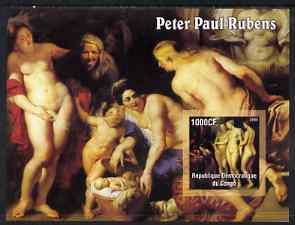Congo 2005 Nude Paintings by Peter Paul Rubens II (horizontal) imperf s/sheet unmounted mint