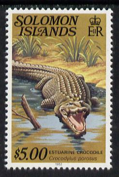 Solomon Islands 1979 Crocodile $5 (with imprint) unmounted mint, from Reptiles def set SG 403B, gutter pairs available price x 2