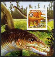 Kyrgyzstan 2003 Dinosaurs imperf m/sheet #3 with Rotary Logo, unmounted mint