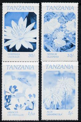 Tanzania 1986 Flowers perf proof set of 4 printed in blue & black only unmounted mint (as SG 474-7)