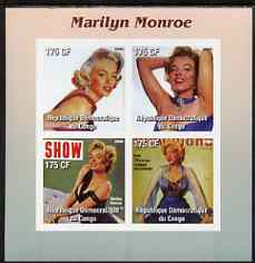 Congo 2003 Marilyn Monroe #1 imperf sheetlet containing 4 values unmounted mint