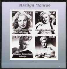 Congo 2003 Marilyn Monroe #2 imperf sheetlet containing 4 values (B&W) unmounted mint