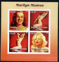 Congo 2003 Marilyn Monroe #3 imperf sheetlet containing 4 values (2 Nudes) unmounted mint