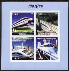 Congo 2003 The 'Maglev' Train imperf sheetlet containing 4 values unmounted mint