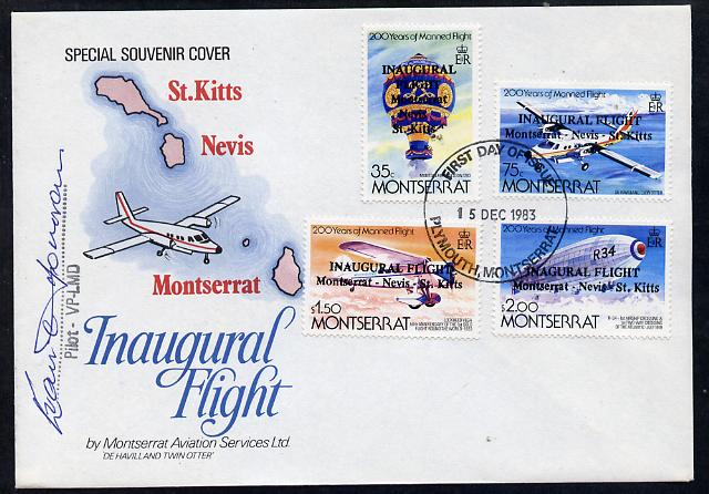 Montserrat 1983 Manned Flight set of 4 opt'd 'Inaugural Flight' on specal illustrated flown flight cover signed by pilot, (see note after SG 589)