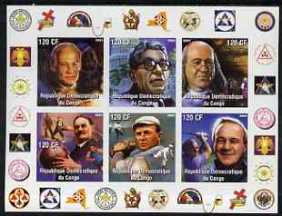 Congo 2003 Famous Persons of NY Masonic Lodge #1 imperf sheetlet containing 6 values unmounted mint (John Glenn, Arnold Palmer)