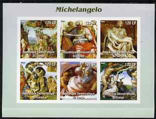 Congo 2003 Paintings by Michelangelo imperf sheetlet containing 6 values unmounted mint