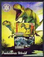 Gambia 2003 Prehistoric World imperf sheetlet containing 2 values with Rotary logo, unmounted mint