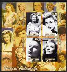 Gambia 2003 Classic Actresses imperf sheetlet containing 4 values, unmounted mint (Monroe, Grace Kelly, M Dietrich & I Bergman)