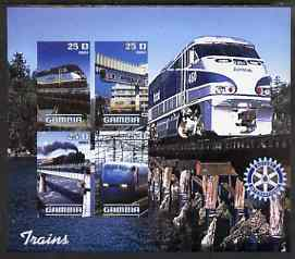 Gambia 2003 Modern Trains imperf sheetlet containing 4 values with Rotary logo, unmounted mint