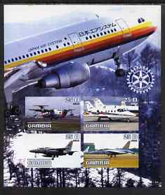 Gambia 2003 Aircraft imperf sheetlet containing 4 values with Rotary logo, unmounted mint