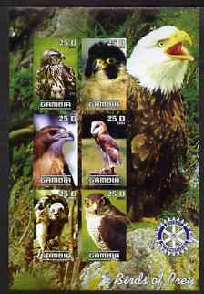 Gambia 2003 Birds of Prey imperf sheetlet containing 6 values with Rotary logo, unmounted mint