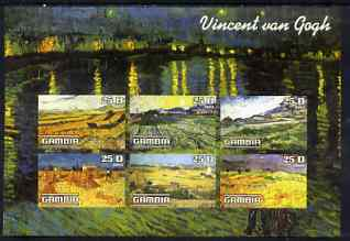 Gambia 2003 Paintings by Vincent Van Gogh imperf sheetlet containing 6 values, unmounted mint
