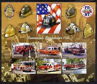 Gambia 2003 Fire Engines - Remember Sept 11th imperf sheetlet containing 6 values, unmounted mint