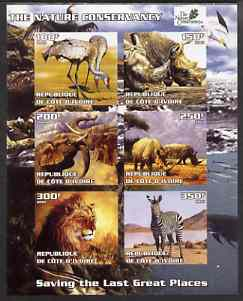 Ivory Coast 2003 The Nature Conservancy imperf sheetlet containing set of 6 values (Animals) unmounted mint