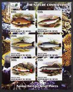 Benin 2003 The Nature Conservancy imperf sheetlet containing set of 6 values (Fish) unmounted mint