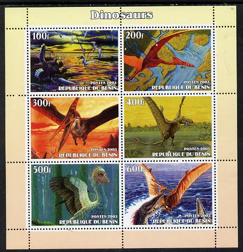Benin 2003 Dinosaurs #11 perf sheetlet containing 6 values unmounted mint