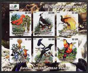 Mauritania 2003 The Nature Conservancy imperf sheetlet containing set of 6 values (Birds by John Audubon) unmounted mint