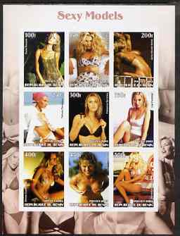 Benin 2003 Sexy Models imperf sheetlet containing set of 9 values unmounted mint