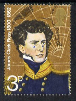 Great Britain 1972 British Polar Explorers 3p (James Clark Ross) unmounted mint with fine 1.5mm drop of blue (eyes on cheek) SG 897var)