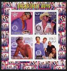 Eritrea 2003 Backstreet Boys imperf sheetlet containing set of 4 values each with Rotary International Logo unmounted mint