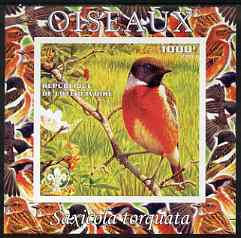 Ivory Coast 2003 Birds - Stonechat composite imperf sheetlet containing 1 value + 1 label with Scouts Logo, unmounted mint