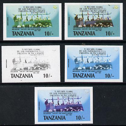Tanzania 1987 Chama Cha 10s set of 5 imperf progressive proofs comprising single, 2-colour, two 3-colour composites plus all 4 colours unmounted mint as (SG 510)