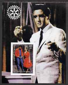 Djibouti 2004 Elvis Presley #2 imperf s/sheet with Rotary Logo, unmounted mint, stamps on music, stamps on personalities, stamps on elvis, stamps on entertainments, stamps on films, stamps on cinema, stamps on rotary