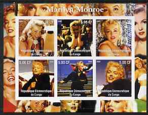 Congo 2002 Marilyn Monroe imperf sheetlet containing set of 6 unmounted mint