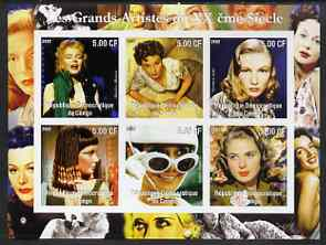 Congo 2002 Film Stars of the 20th Century (Female) imperf sheetlet containing set of 6 values unmounted mint