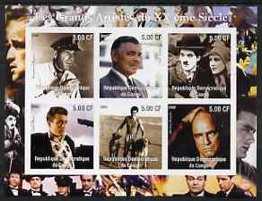 Congo 2002 Film Stars of the 20th Century (Male) imperf sheetlet containing set of 6 values unmounted mint