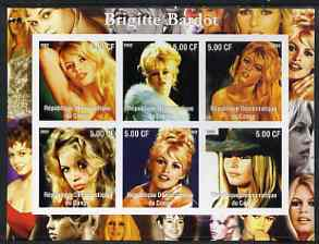Congo 2002 Brigitte Bardot imperf sheetlet containing set of 6 values unmounted mint