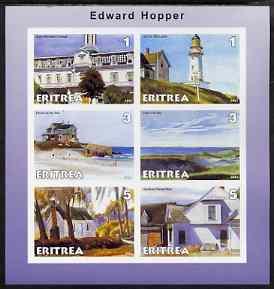 Eritrea 2001 Art of Edward Hopper #1 imperf sheetlet containing 6 values unmounted mint