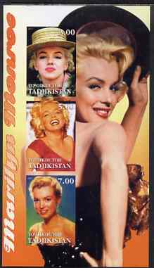 Tadjikistan 2001 Marilyn Monroe imperf sheetlet containing 3 values unmounted mint