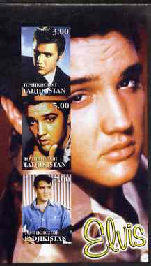 Tadjikistan 2001 Elvis Presley imperf sheetlet containing set of 3 values unmounted mint