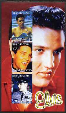 Kyrgyzstan 2001 Elvis Presley imperf sheetlet containing set of 3 values unmounted mint