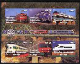 Congo 2004 Modern Trains #1 (small format) imperf sheetlet containing 6 values, with Rotary Logo unmounted mint