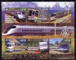 Congo 2004 Modern Trains #2 (small format) imperf sheetlet containing 6 values, with Rotary Logo unmounted mint